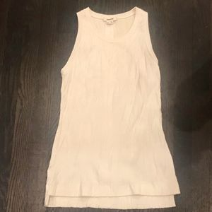 Helmut Lang rigid ivory ribbed tank top